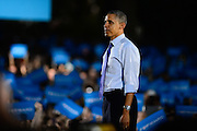 President Barack Obama departs the stage after a giving a speech at Ohio University, in Athens, Ohio, Oct. 17, 2012.