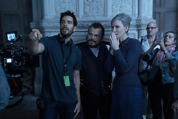 """Director Eli Roth, Jack Black and Cate Blanchett on the set of """"The House With A Clock in Its Walls,"""" (2018)"""