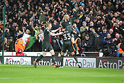 De Bruyne, Jesus and goal scorer David Silva celebrate during the Premier League match between Stoke City and Manchester City at the Bet365 Stadium, Stoke-on-Trent, England on 12 March 2018. Picture by Graham Holt.