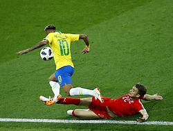 June 27, 2018 - Moscow, Russia - Group E Serbia v Brazil - FIFA World Cup Russia 2018.Adem Ljajic (Serbia) tackles on Neymar (Brazil) at Spartak Stadium in Moscow, Russia on June 27, 2018. (Credit Image: © Matteo Ciambelli/NurPhoto via ZUMA Press)