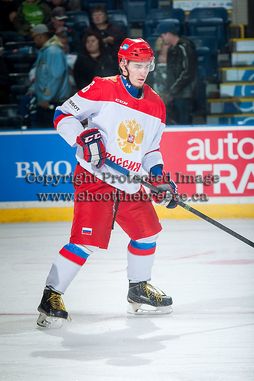 KELOWNA, CANADA - NOVEMBER 9: Egor Rykov # 6 of Team Russia warms up against the Team WHL on November 9, 2015 during game 1 of the Canada Russia Super Series at Prospera Place in Kelowna, British Columbia, Canada.  (Photo by Marissa Baecker/Western Hockey League)  *** Local Caption *** Egor Rykov;