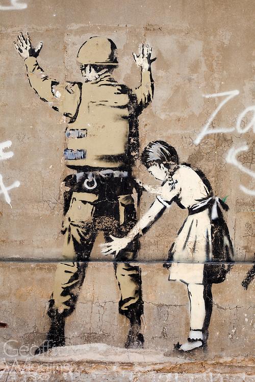 Banksy graffiti on Israeli security wall, Bethlehem, Palestine Territory Occupied