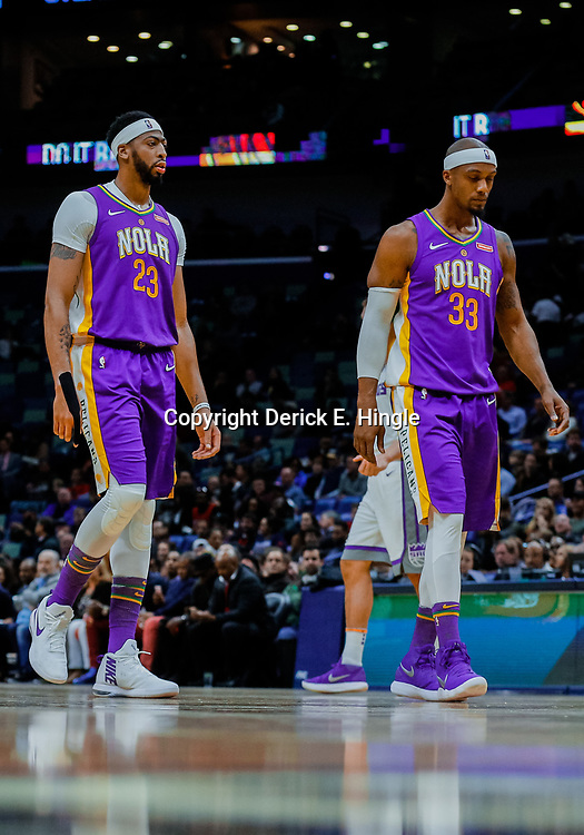Jan 30, 2018; New Orleans, LA, USA; New Orleans Pelicans forward Anthony Davis (23) and forward Dante Cunningham (33) against the Sacramento Kings during the first quarter at the Smoothie King Center. Mandatory Credit: Derick E. Hingle-USA TODAY Sports