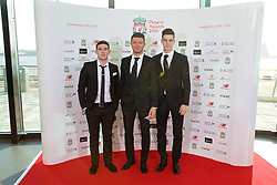 LIVERPOOL, ENGLAND - Thursday, May 12, 2016: Jack Dunn, Joe Maguire and Sam Hart arrive on the red carpet for the Liverpool FC Players' Awards Dinner 2016 at the Liverpool Arena. (Pic by David Rawcliffe/Propaganda)
