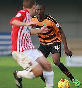 Barnet defender Bira Dembele looks for an opening during the Sky Bet League 2 match between Barnet and Exeter City at The Hive Stadium, London, England on 31 October 2015. Photo by Bennett Dean.