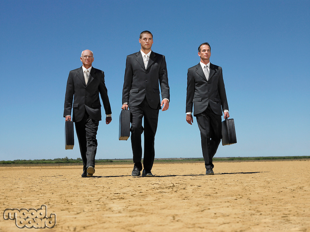 Three businessmen with briefcases walking through desert full length