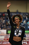 Mar 5, 2017; Albuquerque, NM, USA; Vashti Cunningham poses with medal after winning the women's high jump at 6-5 (1.96m) during the USA Indoor Championships at the Albuquerque Convention Center.