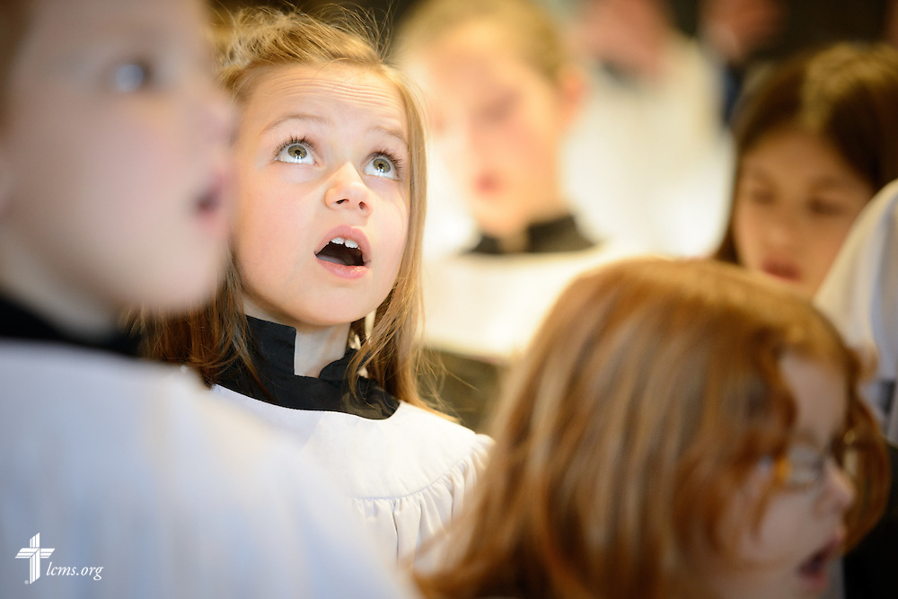 Elizabeth Vogt sings during worship on Transfiguration Sunday, Feb. 7, 2016, at Peace Lutheran Church in Sussex, Wis., LCMS Communications/Erik M. Lunsford