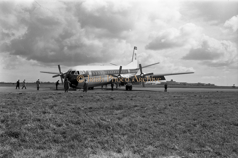 29/03/1963<br /> 03/29/1963<br /> 29 March 1963<br /> B.E.A. Aircrash at Dublin Airport. The crashed BEA Vanguard G-APEJ that carried 43 passengers and seven crew from London to Dublin. The Airport Terminal can be seen 1/2 mile in background. Note the Fireman with hose as photographers and gawkers take a look at the accident scene.