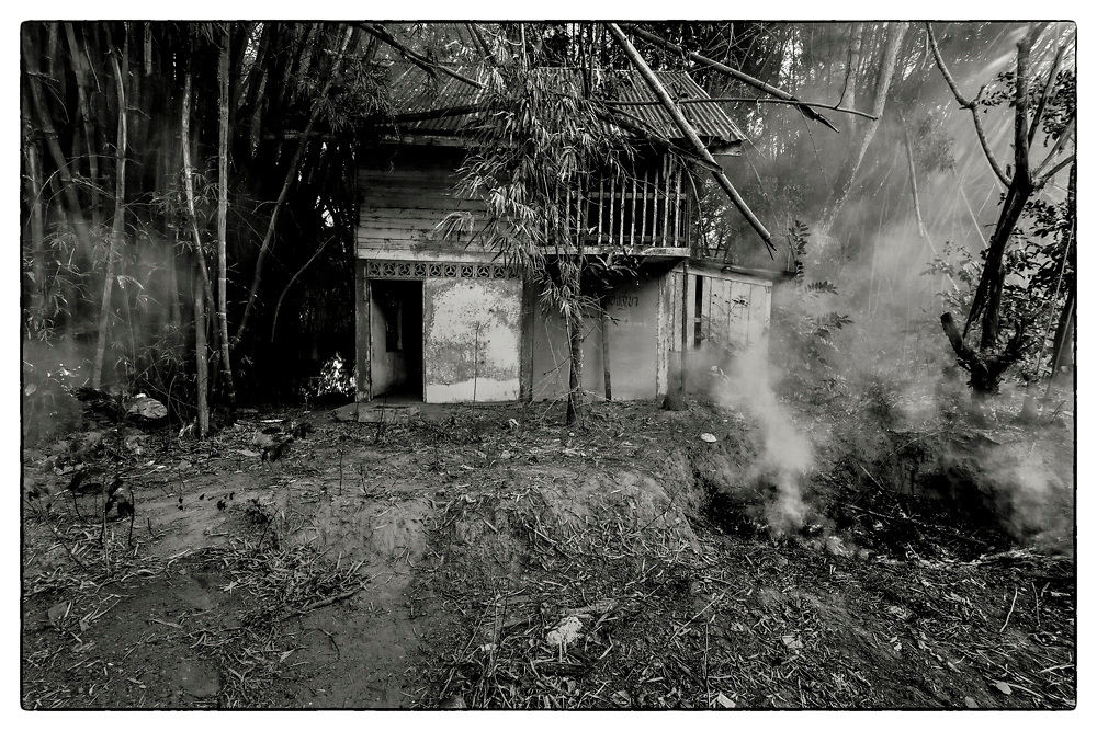 "Dense smoke from the burning of the bamboo forest, as the land is cleared by the popular practice of 'slash-and-burn', in the grounds of the Pha Koeng Buddhist temple, Chaiyaphum Province, Northeast Thailand, 2017. From the series: ""Pha Koeng"" (2011-2017)."