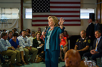 Hillary Clinton speaks to the crowd gathered for the Community Forum on substance abuse held at the Laconia Boys and Girls Club on Thursday afternoon.  (Karen Bobotas/for the Laconia Daily Sun)