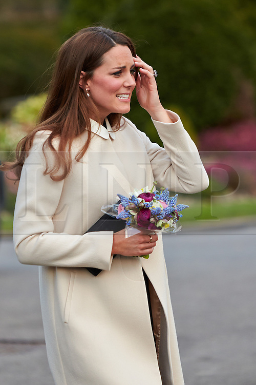 © Licensed to London News Pictures.  19/03/2013. SAUNDERTON, UK. The Duke and Duchess of Cambridge, William (not pictured) and Kate (pictured) leave the Clare Centre in Saunderton after visiting the offices of charity Child Bereavement UK. Photo credit :  Cliff Hide/LNP