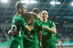 Asmir Suljic, Andres Vombergar, Matic Crnic, Tomislav Tomic during football match between NK Olimpija Ljubljana and Aluminij in Round #9 of Prva liga Telekom Slovenije 2018/19, on September 23, 2018 in Stozice Stadium, Ljubljana, Slovenia. Photo by Morgan Kristan