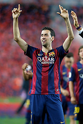 30.05.2015, Camp Nou, Barcelona, ESP, Copa del Rey, Athletic Club Bilbao vs FC Barcelona, Finale, im Bild FC Barcelona's Sergio Busquets celebrates the victory // during the final match of spanish king's cup between Athletic Club Bilbao and Barcelona FC at Camp Nou in Barcelona, Spain on 2015/05/30. EXPA Pictures &copy; 2015, PhotoCredit: EXPA/ Alterphotos/ Acero<br /> <br /> *****ATTENTION - OUT of ESP, SUI*****