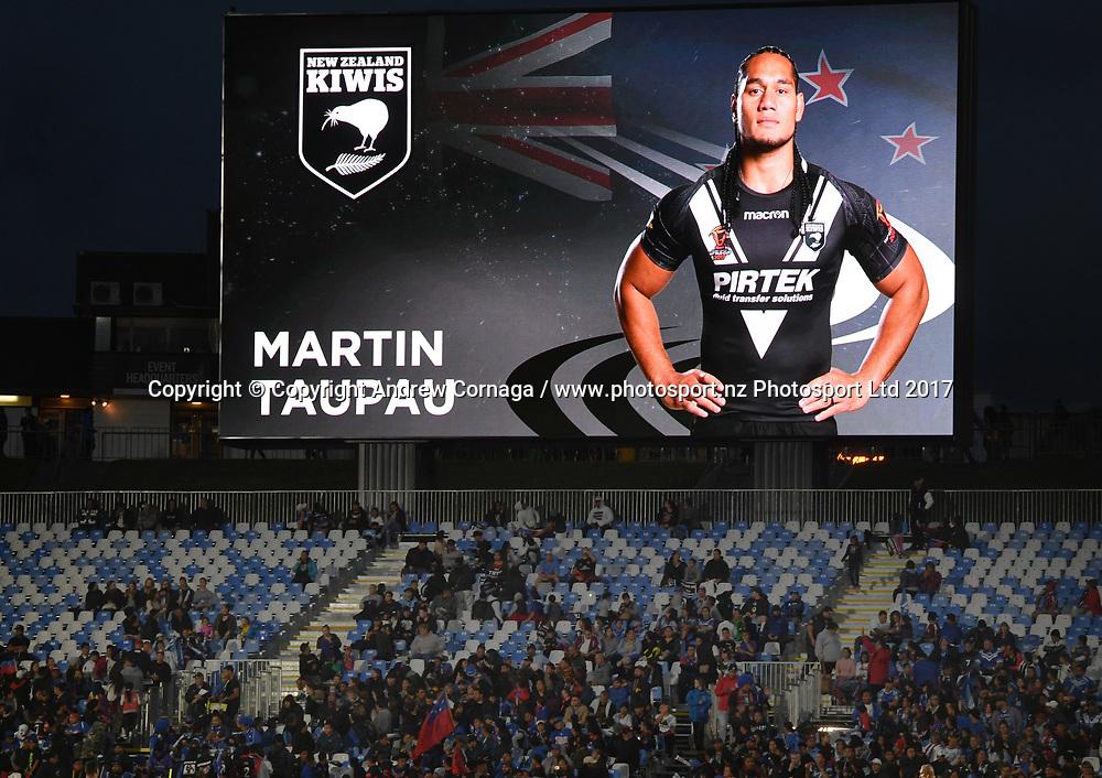 Martin Taupau on the big screen scoreboard.<br /> New Zealand Kiwis v Samoa, Rugby League World Cup 2017. RLWC2017, Mt Smart Stadium, Auckland, New Zealand. Saturday 28 October 2017 &copy; Copyright Photo: Andrew Cornaga / www.Photosport.nz