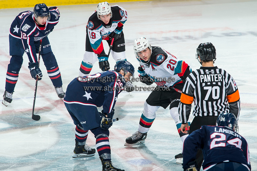 KELOWNA, BC - FEBRUARY 12: Matthew Wedman #20 of the Kelowna Rockets lines up against Booker Daniel #39 of the Tri-City Americans at Prospera Place on February 8, 2020 in Kelowna, Canada. Hamaliuk was seleccted in the 2019 NHL entry draft by the San Jose Sharks. (Photo by Marissa Baecker/Shoot the Breeze)
