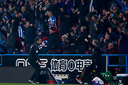Huddersfield Town Manager David Wagner and his bench celebrate Huddersfield Town defender Christopher Schindler (26) goal during the Premier League match between Huddersfield Town and Fulham at the John Smiths Stadium, Huddersfield, England on 5 November 2018.