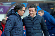 Luton Town interim manager, Mick Harford (left) and Sunderland AFC manager, Jack Ross (right) speak before the EFL Sky Bet League 1 match between Sunderland AFC and Luton Town at the Stadium Of Light, Sunderland, England on 12 January 2019.