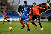 Peterborough United defender Steven Taylor (27) shields the ball from Southend United midfielder Michael Kightly (7) during the EFL Sky Bet League 1 match between Peterborough United and Southend United at London Road, Peterborough, England on 3 February 2018. Picture by Nigel Cole.