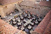 A wedding at the Castello di Amorosa Winery in Calistoga, Napa Valley, California. Daryl Sattui's winery built to resemble a Tuscan castle.