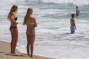 Local Blonde Girls at the Beach in Orange County Watching Surfing