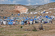 Tent city for people displaced from the earthquake that hi Haiti on January 12, 2010  outside of Port-au-Prince on route nine about six miles out of the city
