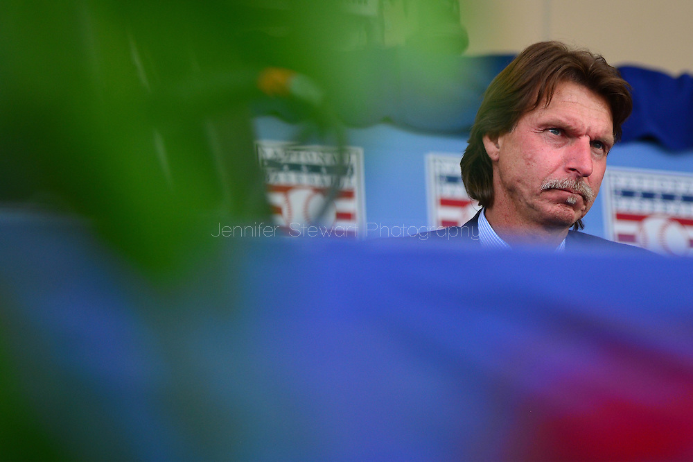 COOPERSTOWN, NY - JULY 26: Hall of Fame inductee Randy Johnson sits on stage during the Induction Ceremony at National Baseball of Hall of Fame on July 26, 2015 in Cooperstown, New York. (Photo by Jennifer Stewart/Arizona Diamondbacks/Getty Images)