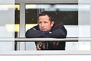 Rain Stops Play - Roelof van der Merwe of Somerset looks glum on the balcony as the heavy rain continues to fall during the Specsavers County Champ Div 1 match between Somerset County Cricket Club and Essex County Cricket Club at the Cooper Associates County Ground, Taunton, United Kingdom on 23 September 2019.
