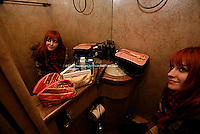 Paramore on their tourbus prior to performing at Roseland  on November 28, 2007. ..Hayley Williams (lead vocals), Josh Farro (lead guitar/backing vocals - NO HAT), Jeremy Davis (bass -BLACK FEDORA AND TIE), and Zac Farro (drums -BEIGE KNIT CAP)...Photo Credit; Rahav Segev for The New York Times.