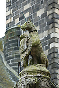 Unicorn statue in Stirling, Scotland, United Kingdom, Europe. Why a unicorn? Unicorns were first depicted in 2600 BC in ancient seals of the Indus Valley Civilization and were mentioned by the ancient Greeks. In Celtic mythology the unicorn symbolized purity, innocence, masculinity and power. The proud, haughty unicorn was chosen as Scotland's national animal because it would rather die than be captured, just as Scots would fight to remain sovereign and unconquered. The unicorn was first used on the Scottish royal coat of arms by William I in the 1100s, and two unicorns supported the shield until 1603. When James VI became James I of England and Ireland in 1603, he replaced one unicorn with the national animal of England, the lion, to demonstrate unity.