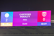 VAR check for West Ham United PENALTY during the Premier League match between Leicester City and West Ham United at the King Power Stadium, Leicester, England on 22 January 2020.
