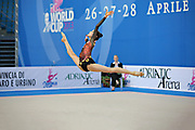 Hayakawa Sakura during qualifying at clubs in Pesaro World Cup 27 April 2013. Sakura is a Japan rhythmic gymnastics athlete born March 17, 1997 in Osaka, Japan. She appeared in Senior competitions in the 2013 season.