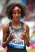 Sifan Hassan of the Netherlands with the Millicent Fawcett trophy during the Muller Anniversary Games, Day Two, at the London Stadium, London, England on 22 July 2018. Picture by Martin Cole.