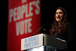© Licensed to London News Pictures. 09/12/2018. London, UK. Labour MP Luciana Burgess speaks at a People's Vote rally at the Excel Centre in London. MPs will vote on Prime Minister Theresa May's proposed Brexit deal in the coming week. Photo credit: Rob Pinney/LNP