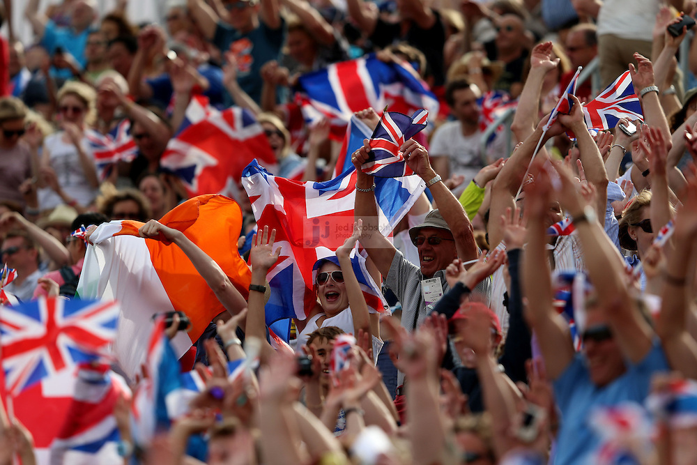 British fans cheer during men's modern pentathlon during day 15 of the London Olympic Games in London, England, United Kingdom on August 11, 2012..(Jed Jacobsohn/for The New York Times)..