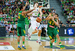 Marcelo Machado of Brasil vs Jaka Klobucar of Slovenia during friendly basketball match between National Teams of Slovenia and Brasil at Day 2 of Telemach Tournament on August 22, 2014 in Arena Stozice, Ljubljana, Slovenia. Photo by Vid Ponikvar / Sportida