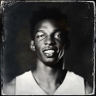 Sep 29, 2014; Auburn Hills, MI, USA;  (Editor's Note: Photo was post-processed creating a digital tintype) Detroit Pistons center Hasheem Thabeet (32) during media day at the Pistons practice facility. Mandatory Credit: Rick Osentoski-USA TODAY Sports