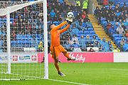 Neil Etheridge (1) of Cardiff City makes a save from a Raheem Sterling (7) of Manchester City free kick during the Premier League match between Cardiff City and Manchester City at the Cardiff City Stadium, Cardiff, Wales on 22 September 2018.