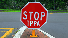 Auckland-Stop signs hit by TPPA protesters