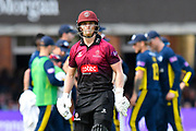 Wicket - Tom Abell of Somerset looks dejected as he walks back to the pavilion after being dismissed by Fidel Edwards of Hampshire during the Royal London 1 Day Cup Final match between Somerset County Cricket Club and Hampshire County Cricket Club at Lord's Cricket Ground, St John's Wood, United Kingdom on 25 May 2019.