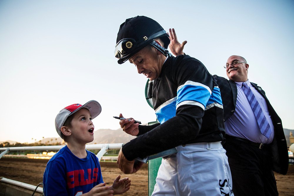 March 07 2015: Jockey, Mike Smith at Santa Anita Park in Arcadia CA. Alex Evers/ESW/CSM`