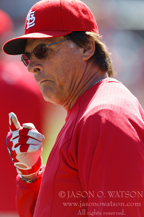 April 8, 2011; San Francisco, CA, USA;  St. Louis Cardinals manager Tony La Russa (10) during batting practice before the game against the San Francisco Giants at AT&T Park.  San Francisco defeated St. Louis 5-4 in 12 innings.
