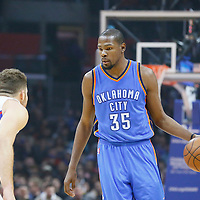 21 December 2015: Oklahoma City Thunder forward Kevin Durant (35) dribbles during the Oklahoma City Thunder 100-99 victory over the Los Angeles Clippers, at the Staples Center, Los Angeles, California, USA.