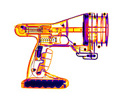 An X-ray of a toy vortex gun.  This toy gun blows a smoke ring vortex whenthe trigger is pulled.