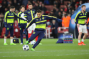 Arsenal attacker Alexis Sanchez (7) practicing shooting whilst warming up during the Champions League round of 16, game 2 match between Arsenal and Bayern Munich at the Emirates Stadium, London, England on 7 March 2017. Photo by Matthew Redman.