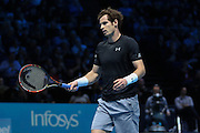Andy Murray appeals a decision with the umpire during the ATP World Tour Finals at the O2 Arena, London, United Kingdom on 20 November 2015. Photo by Phil Duncan.