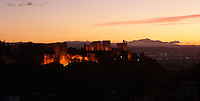 The Alhambra at sunset, viewed from the top of the Albaicin, Granada, Spain.