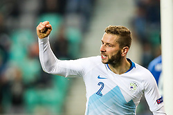 Nejc Skubic of Slovenia celebrates during football match between National Teams of Slovenia and Cyprus in Final Tournament of UEFA Nations League 2019, on October 16, 2018 in SRC Stozice, Ljubljana, Slovenia. Photo by  Morgan Kristan / Sportida