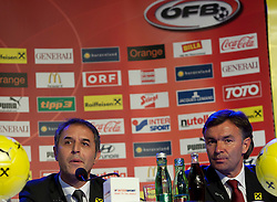 04.10.2011, Oberwart, AUT, OeFB, Praesentation Nationalteam Trainer, im Bild der neue OeFB Teamchef Marcel Koller und Willi Ruttensteiner // during the presentation of the new OeFB coach in Oberwart, AUT, on 2011-10-04, EXPA Pictures © 2011, PhotoCredit: EXPA/ Erwin Scheriau