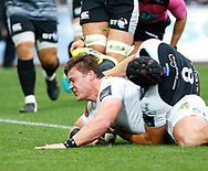 Jasper Wiese of Cheetahs scores his sides first try<br /> <br /> Photographer Simon King/Replay Images<br /> <br /> Guinness PRO14 Round 2 - Ospreys v Cheetahs - Saturday 8th September 2018 - Liberty Stadium - Swansea<br /> <br /> World Copyright © Replay Images . All rights reserved. info@replayimages.co.uk - http://replayimages.co.uk